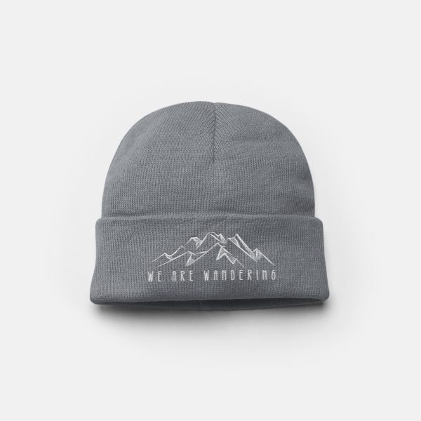 Embroidered Mountain Beanie Hat